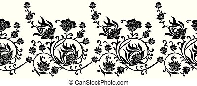 seamless, preto branco, fronteira floral