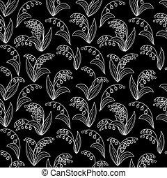seamless, preto branco, padrão, com, lírios, de, a, vale, ligado, um, pretas, experiência., vetorial, eps, 10.