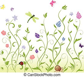 seamless, primavera, fondo