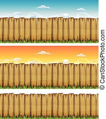 seamless, primavera, o, estate, legno, fenc