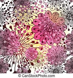 seamless, primavera, patrón floral