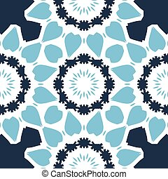 Seamless Print in blue color with stylized triangles looks like oriental mandala art