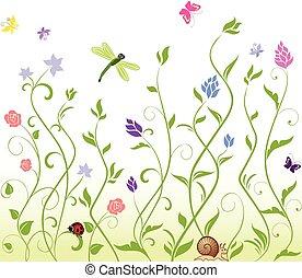 seamless, printemps, fond