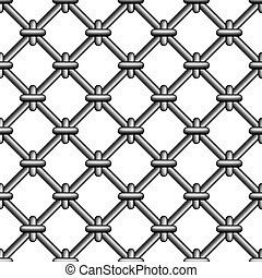 Seamless prison grating with rings, vector metal mesh ...