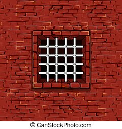 Seamless Prison Wall with Bars, Cell. Vector