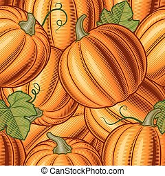 Seamless pumpkin background in woodcut style. Vector illustration with clipping mask.