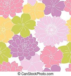 seamless, purpere bloemen, achtergrond, groene, gele, tuin, model