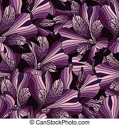 Seamless purple alstroemeria flowers background