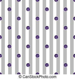 seamless purple dot glitter pattern on grey stripe background.