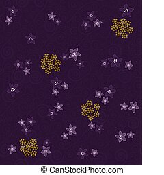 Seamless purple swirls and flowers