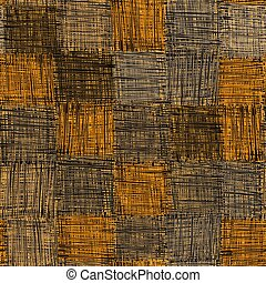 Seamless quilt checkered pattern with grunge striped square elements in beige, yellow, orange, grey colors for web design