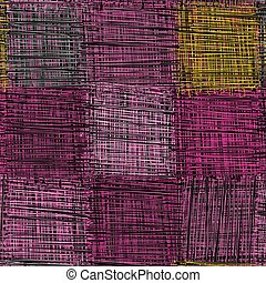 Seamless quilted checkered pattern with grunge striped weave square elements in violet, black, pink, yellow colors