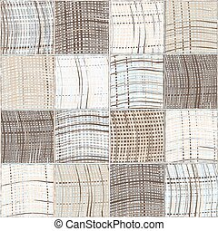 Seamless quilted pattern with grunge striped and checkered square elements in blue, beige grey colors