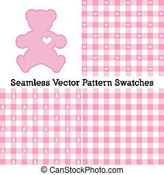 seamless, różowy, duży parasol, wzory, teddy, pastel, niedźwiedź