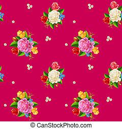 seamless, rózsa, motívum