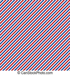 seamless, röd, vit, &, blå, diagonala stripes