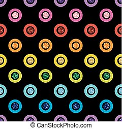 SEAMLESS RAINBOW COLORFUL DOT GLITTER ON BLACK BACKGROUND