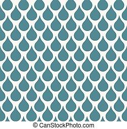 Seamless blue raindrop decorative pattern.