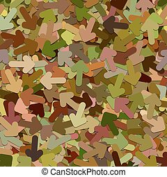 Seamless random arrow background pattern - vector illustration from colorful rotated rounded arrows with shadow effect