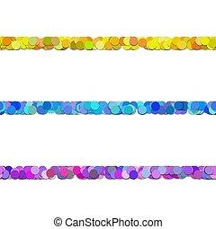 Seamless random circle pattern paragraph dividing line design set - vector decor elements from colored dots