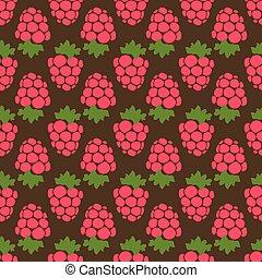 Seamless raspberry background brown pattern