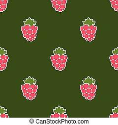 Seamless raspberry background green pattern