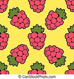 Seamless raspberry background yellow pattern