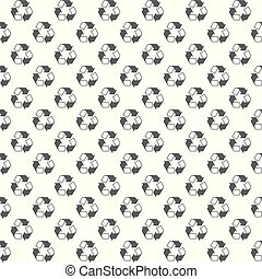 Seamless recycle sign pattern on white background