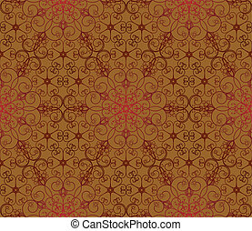 Seamless red and brown floral pattern