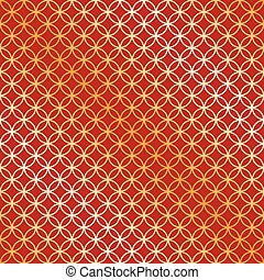 Seamless red and gold circle intersect pattern