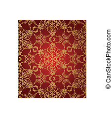 Seamless red and gold snowflake pattern vector illustration