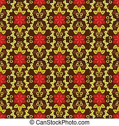 Seamless red and yellow floral vector pattern.