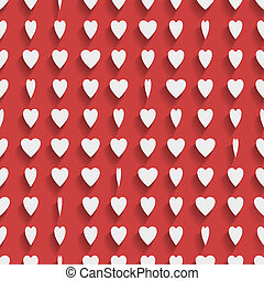 Seamless red background with paper hearts