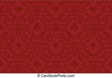 Seamless red background with poker symbols surrounded by floral ornament pattern