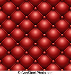 Seamless red buttoned leather upholstery texture.