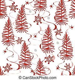 seamless red christmas pattern background with pine tree