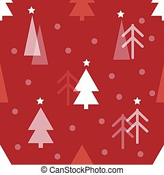 seamless red christmas pattern with pine tree