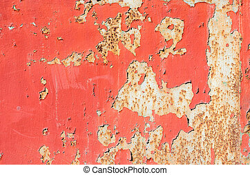 seamless red cracked paint grunge on iron background.