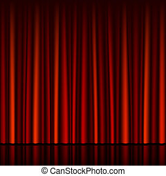 Seamless red curtain with stage
