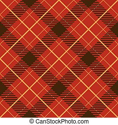 Seamless red diagonal plaid vector pattern.