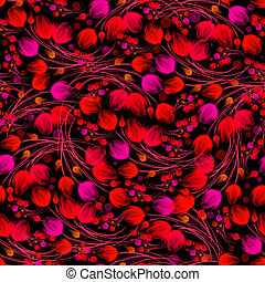 Seamless red floral pattern