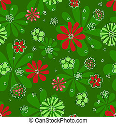 Seamless red flowerson green pattern.