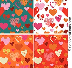 Seamless red hand drawn doodle pattern with hearts
