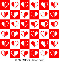 Seamless red heart halves