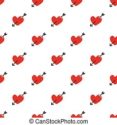 Seamless red hearts and arrow pattern on white