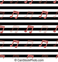 seamless red music note pattern on stripe background