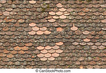 seamless red old roof tiles repaired  texture background