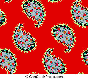 seamless red paisley pattern
