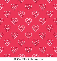 Seamless red pattern of heartbeat. Vector background