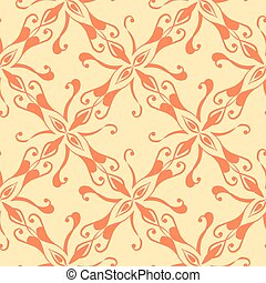 Seamless red pattern on yellow background